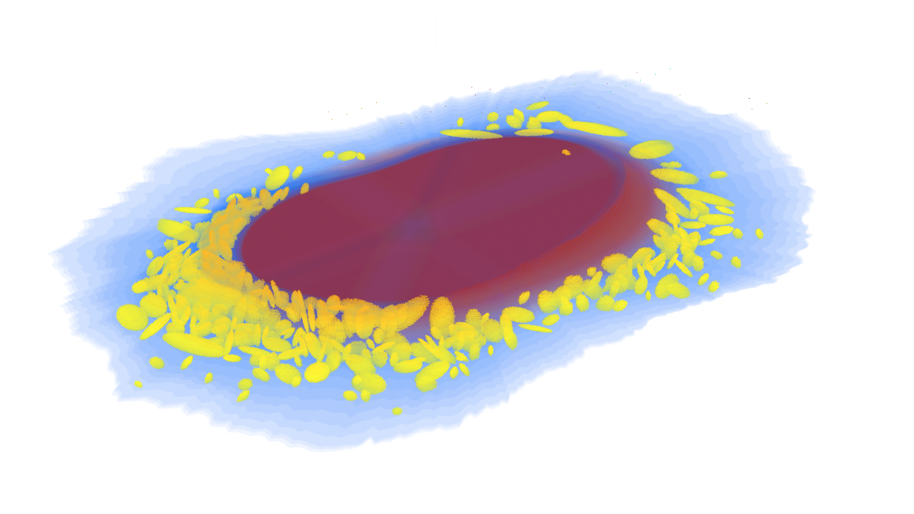 Example cell image generated by CellOrganizer showing the nuclear membrane (red), cell boundary (blue) and individual lysosomes (yellow).